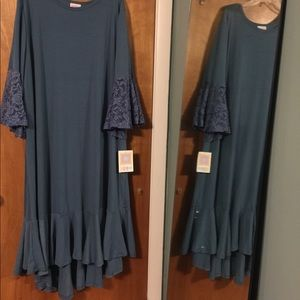NWT LuLaroe Maurine teal blue dress
